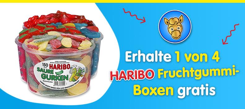Erhalte 1 von 4 Haribo Fruchtgummi-Boxen gratis